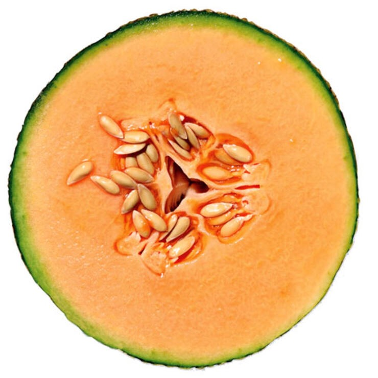 1/2 CANTALOUPE Like most fruit, melon contains a lot of water. So you get a lot of food—and beta-carotene—for not a lot of calories.