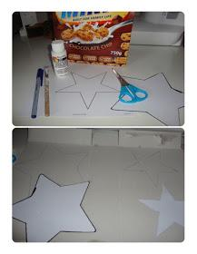 Start by opening out your cereal box and then either print out or free hand draw a 5 pointed star in the size you require. I've used a star template I found {here} which I have cut out and then traced around onto my card.