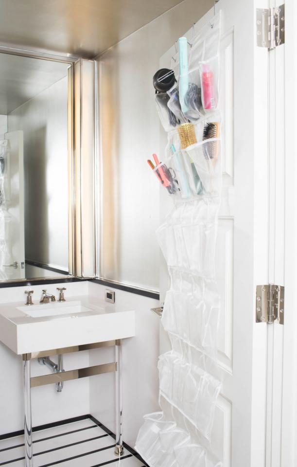7. Use a hanging shoe organizer to store larger beauty products that take up a lot of space. This will also make your products much more accessible than if they were tucked away in the back of a cabinet.