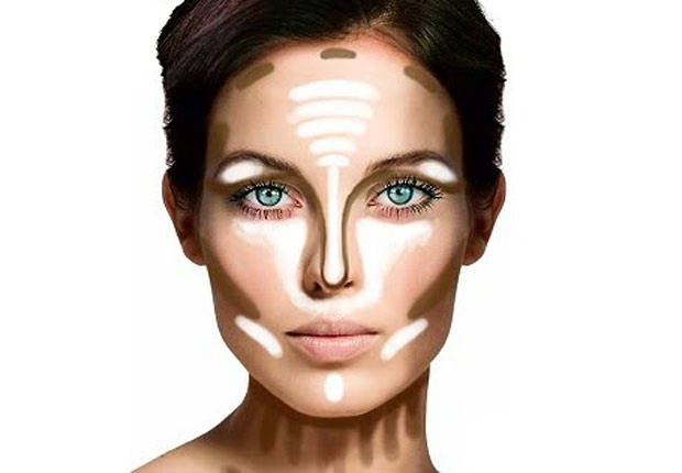 next is highlighting and bronzin. this photo is a really good example of wht to do. you use bronzer and highlighter for this I'll post on the next two pages the highlighter and bronzer i use. but anyways you apply the highlighter in the spots with the white and rub it in and apply bronzer with brush