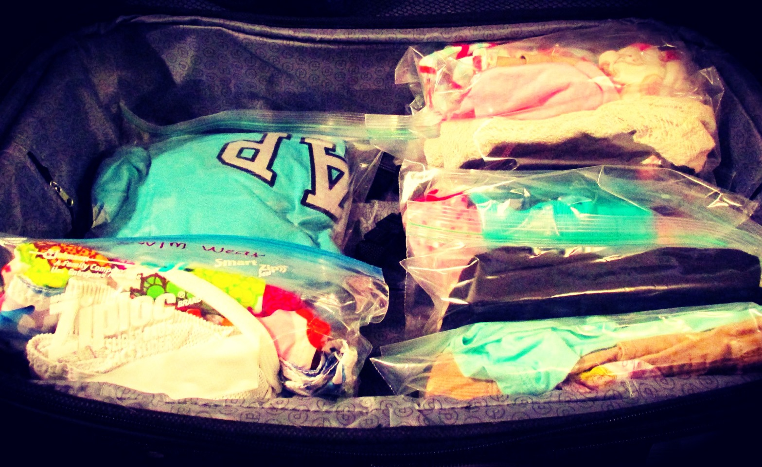 When packing to go on a trip that is 3-7 days, pack outfits in ziploc bags. This allows for more room in a suitcase for toiletries and shoes! Could also prevent you from paying checked bag fees at airports if you can pack in just a carry on!