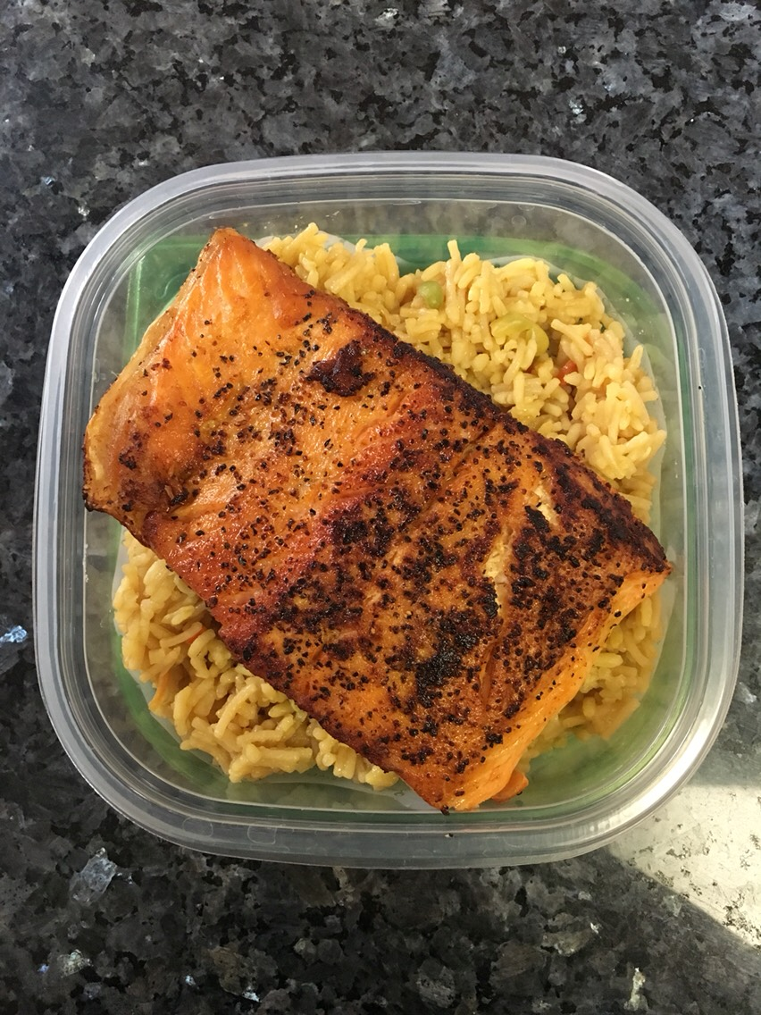 For rice:   1/2 cup White rice 1 frozen package carrots & peas 1-2 eggs Soy sauce (as desired) 2-3 Tablespoons Vegetable oil   For salmon: 1 salmon filet Lemon-pepper to taste 2 tablespoons vegetable oil  (2 servings)