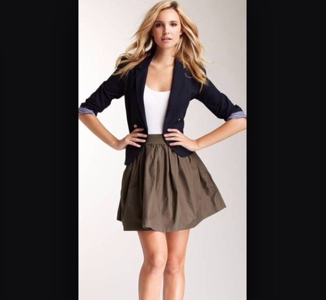 Try a skirt and cardigan!