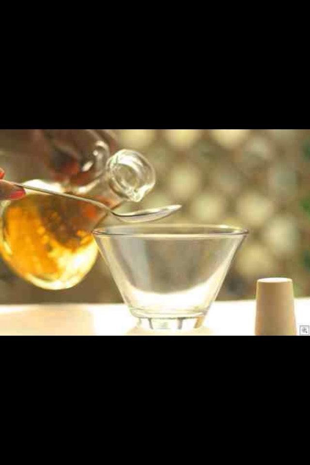 Steps:   Put one teaspoon of Apple cider vinegar  in a bowl.