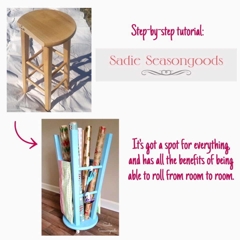 8.Grab a5-drawer plastic storage cart and label each drawerwith a different gift wrap category. Ifyou put the casters on, it's portable, too. This is a great idea if you prefer gift bags to gift wrap. See more of how this fits into a larger wrapping organization centerHERE  http://www.acasarella.net/2013/03/for-love-of-labels.html?m=1