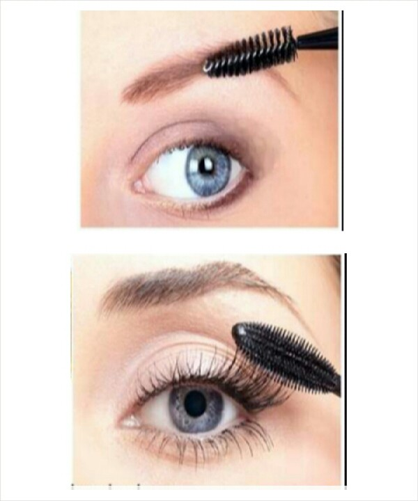3.Apply the castor oil with the wand on your lashes and eyebrows