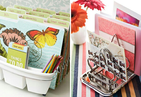 Dish drainers and toast racks make excellent filing systems!