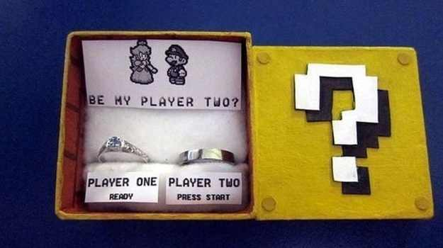 Pop the question with one of the most beloved gamer couple of all time: Mario & Princess Peach!