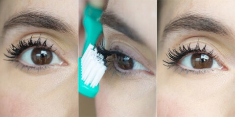 9. De-clump your mascara by combing through your lashes with a clean toothbrush.
