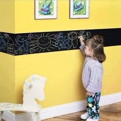 Paint a strip of chalk board paint so your child can always draw on the wall ( without getting in trouble!)