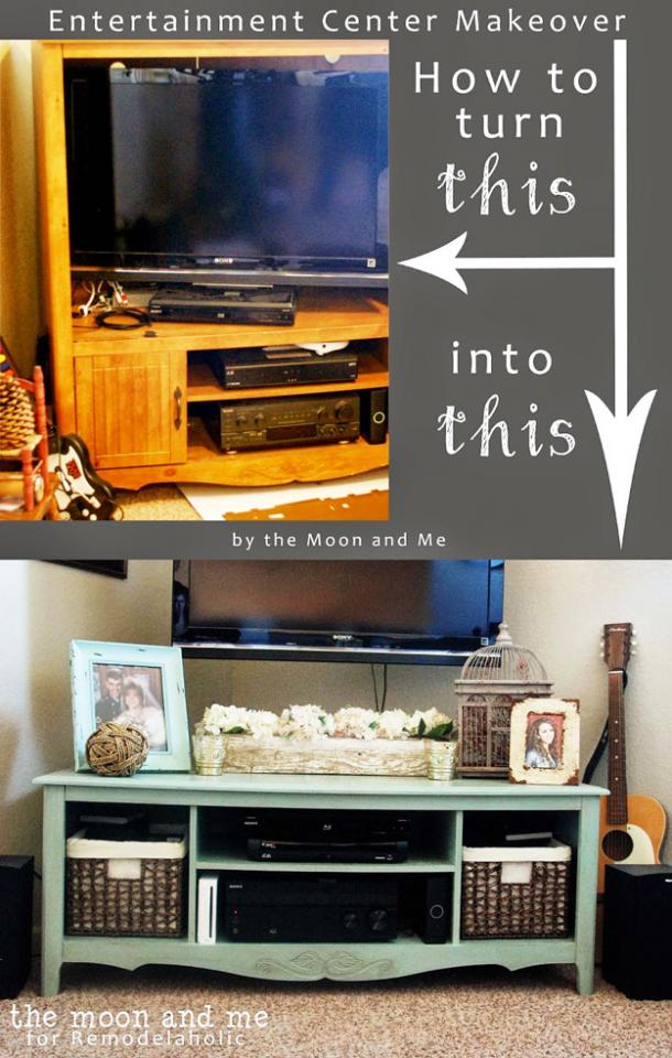 Entertainment Center Into A TV Console Table  http://www.remodelaholic.com/turn-entertainment-center-tv-console-table/#0sJXARiv6Bs7poXy.99