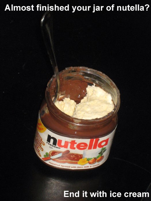 Nutella almost gone? Finish it with ice cream :)