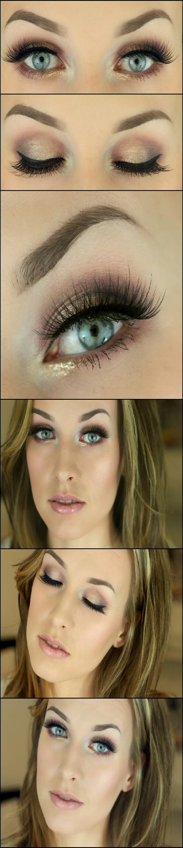 This beautiful look screams 'sexy'. The center point of this look is the addition of gold shadow around the inner lower lashline.