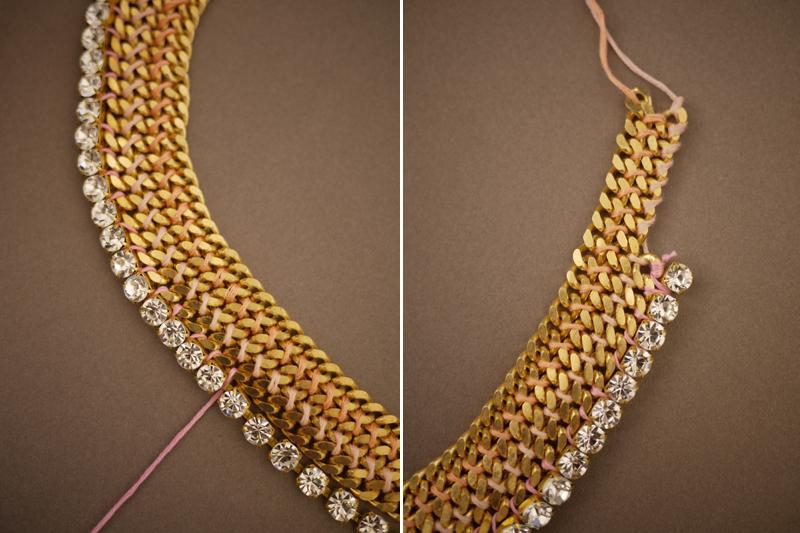 Keep the necklace curved while attaching the rhinestone chain. This will prevent the necklace from buckling. Depending on the size of the rhinestone chain compared to the chain, a few links may have to be skipped in order to maintain the shape of the necklace. Tie a knot at the end.