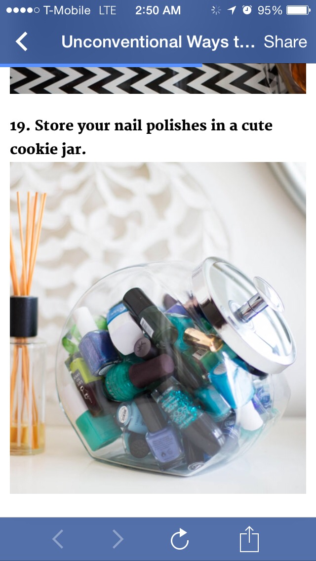 Store nail polishes in a cute cookie jar!