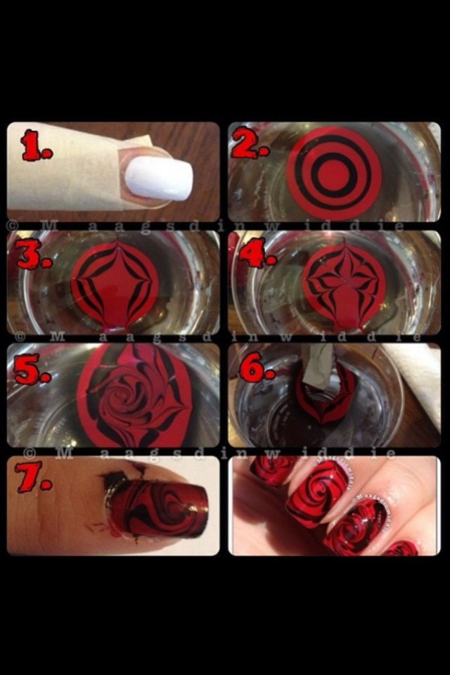 Drop red a black drops of nail polish in water. (One at a time) then moe the colours around to make it how you want it to look then tape around your nails (so you don't get to much on your skin) then dip your finger in the polish then use polish remover to take off the polish on your skin  Done :)