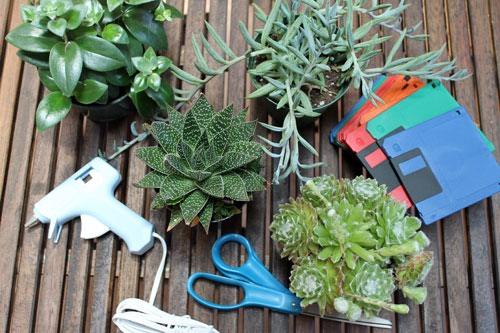 Materials: Plants  Floppy Disks Glue Gun Scissors