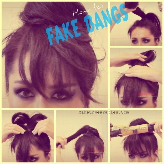 5. An artfully splayed ponytail will give you temporary fake bangs.