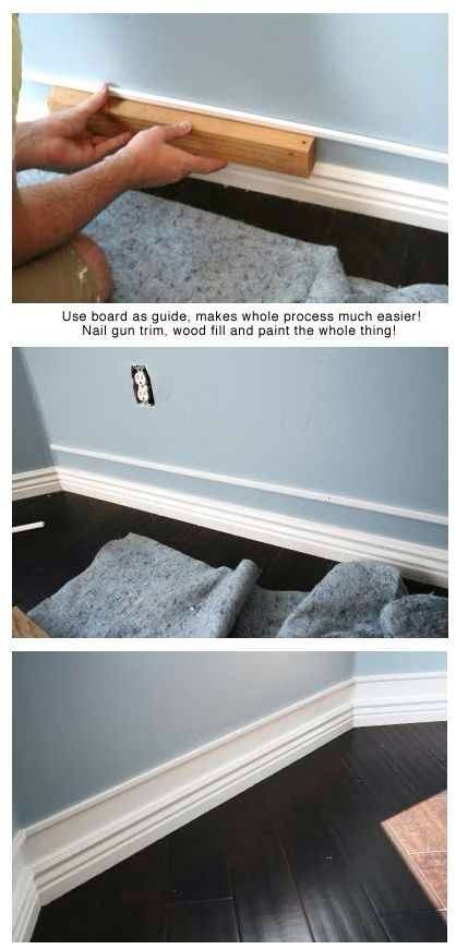 30. Add a strip of trim a bit above already existing baseboards, paint between, and you get faux thick baseboards!