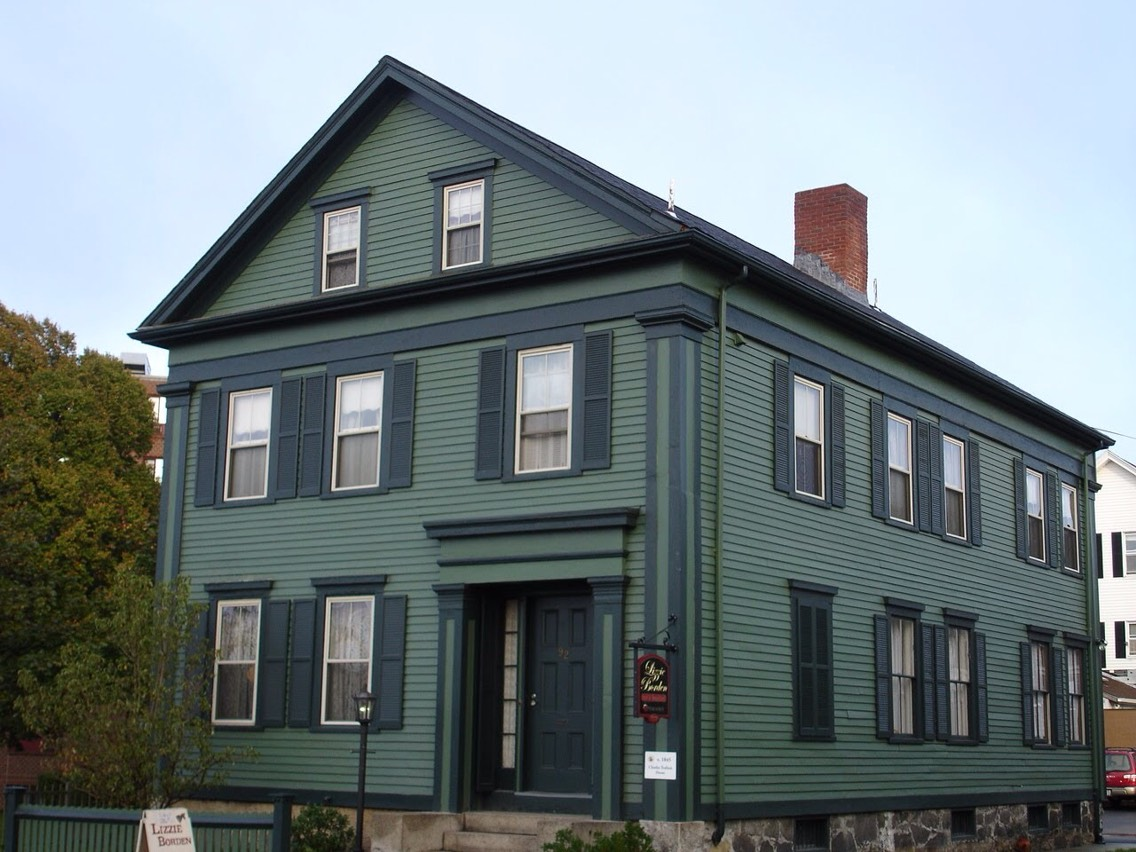 21.) The Lizzie Borden House, Massachusetts This house was the site of the axe murders of Lizzie's father and stepmother, widely believed to have been committed by Lizzie herself-- even though she was tried and acquitted. Apparitions and voices are experienced throughout the house