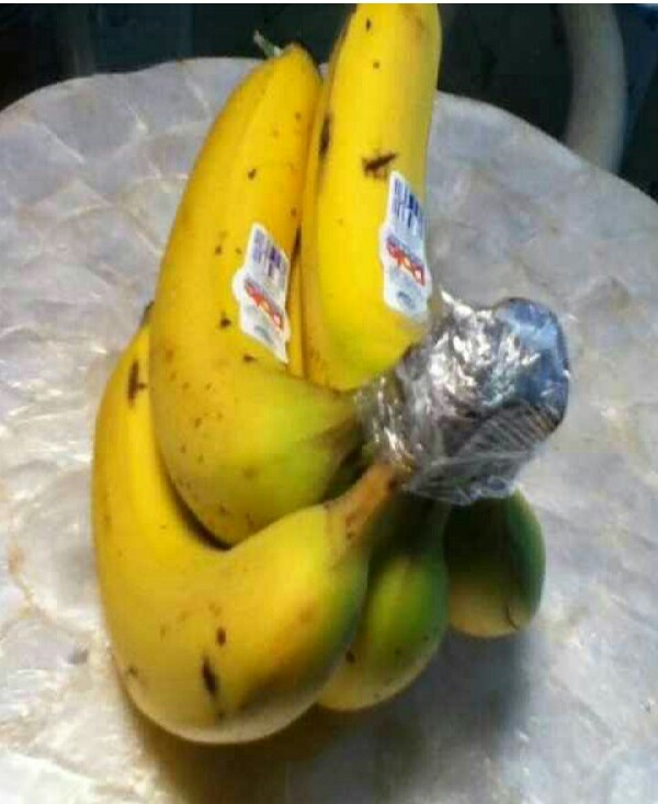 Wrap the top of your bananas with plastic wrap and they'll last 4 to 5 days longer.