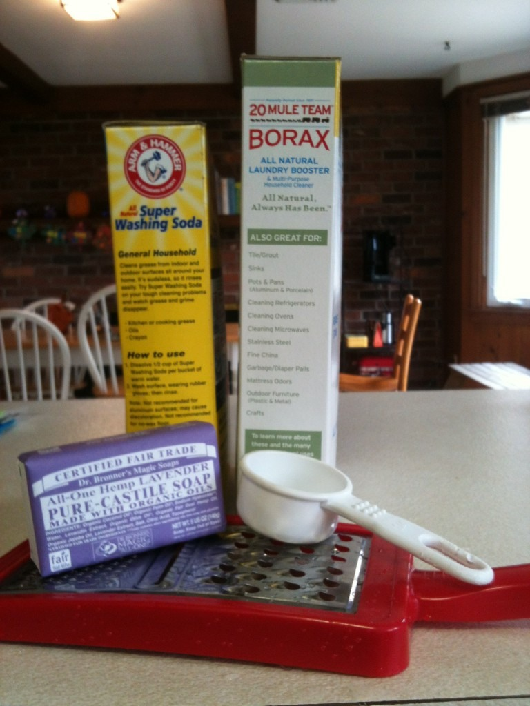 You will need borax, washing soda, and a bar soap. All items inexpensive.