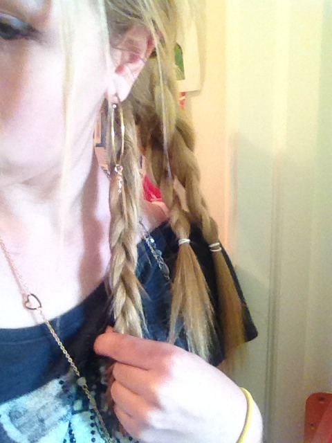 Then divide into three sections and do a basic braid on each section! (This hairstyle is similar to my other tutorial on school hairstyles, ✏️ but as we progress it will get different)  🐬