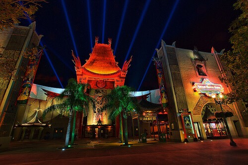 The Chinese Theater is a replica of the original in California. Its one of the few replica buildings in Disney World built to exact scale.