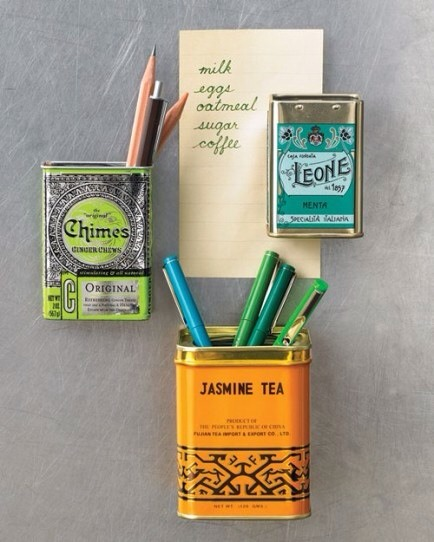 Spice Tins as Storage  Turn vintage spice tins into mini-storage for your refrigerator.