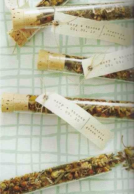 23. Test Tubes Filled with Tea  These test tubes are filled with wildflower seeds. (The couple met in chemistry class.)