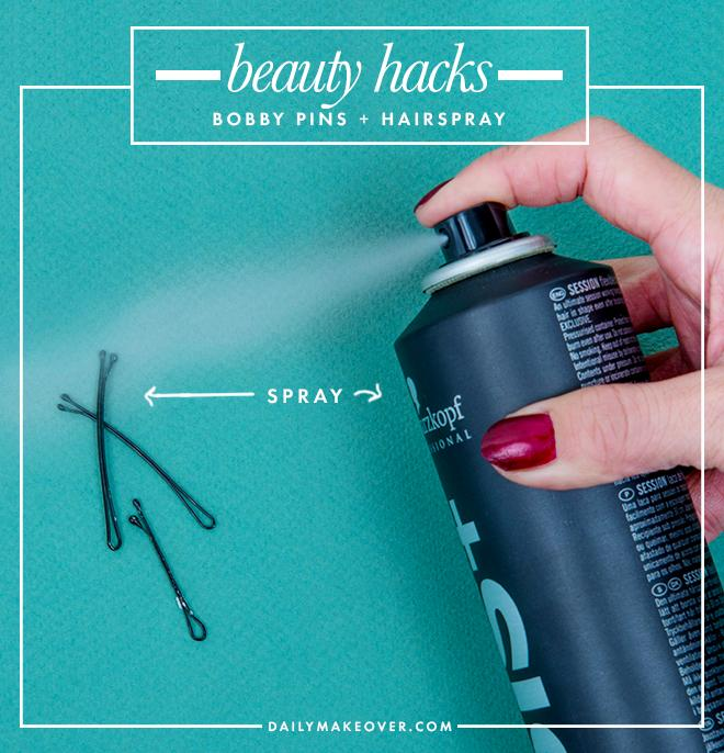 2. Spray bobby pins with strong-hold hairspray before using for better grip to keep your updo in place.