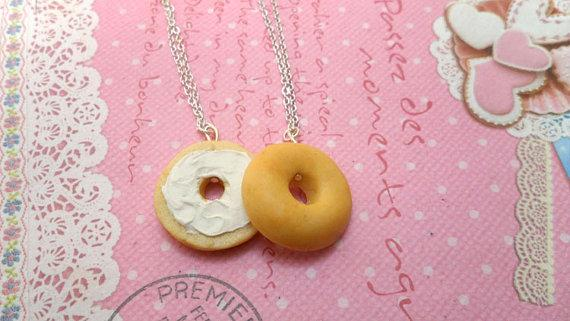 This lifelike set of bagel necklaces. BFF: bagel friends forever.  https://www.etsy.com/listing/130606874/best-friends-necklaces-bff-bagel-besties?ref=sr_gallery_2&sref=sr_22b3f067be217d37ffb9d680c504de2c17aaff640535b83a7b34ee847c84c849_1383239396_14103976_friend&ga_search_query=bagel+best+frien