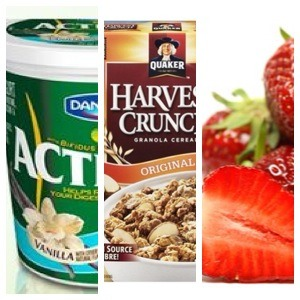 Don't buy this good snack at stores like zehrs or anywhere that sells this yummy snack when buying the ingredients yourself is cheaper and lasts you couple of days ... Get a container, activa yogurt or Greek, harvest granola tastes amazing with almonds included and fresh strawberries mmm. ;)