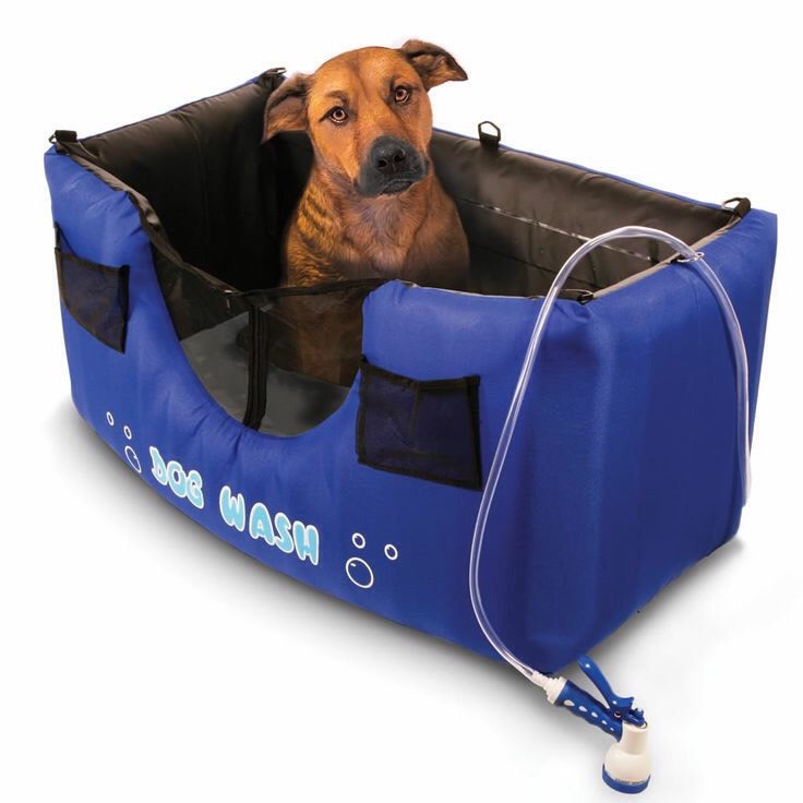 34.Portable inflatable dog wash The inflatable Portable Dog Wash makes it a breeze to give your dog a bath outdoors or in your garage. The unit sets up quickly – simply inflate and then hook it up to your garden hose. $139.95