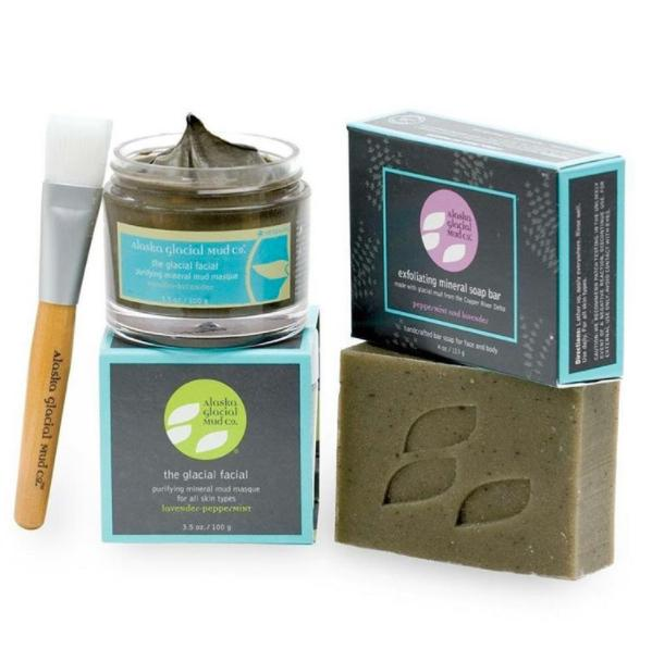 Alaska Spa Treatment Delivered to Your DoorThere's no need to spend big bucks on a cruise to Alaska to get beautiful skin. Luckily for you (and your wallet), your skin can benefit from Alaskan mud from your own home. This holiday season you can purchase our From Alaska, With Love bundle that comes with a mask, soap, application brush and multi-functional bandana to bring Alaska's secret skin weapon to you!