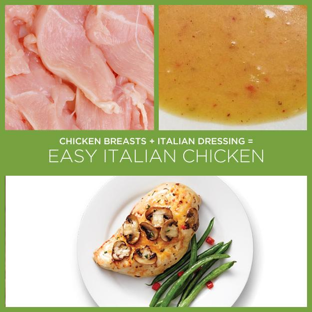 10. Chicken Breasts + Italian Dressing = Easy Italian Chicken