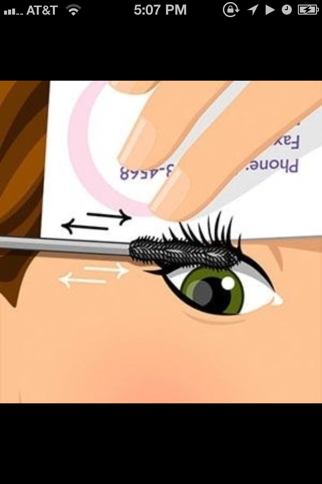 "Hold an old credit or business card just above your upper lashes. Wiggle the brush of your mascara back and forth at the roots. This applies ""a thick layer of dark color at the lash line, eliminating the need for liner.'"