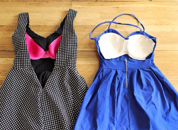 Sew the front half of a cheap or old strapless bra into the dress itself, to confidently wear a backless dress.