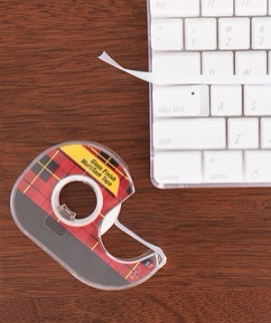 Burcu Avsar Tape as Keyboard Cleaner Make cleaning your computer keys simple: Slide a 2½-inch strip of tape between the rows of your keyboard. The adhesive side will remove dust and crumbs.