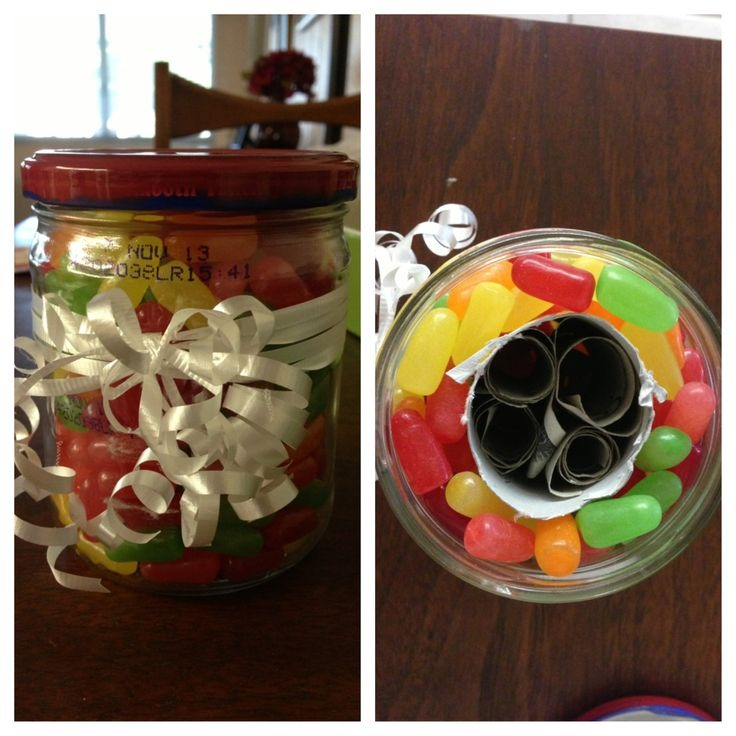 Put a toilet paper roll in a mason jar and put candy around it.