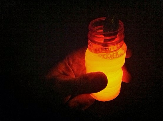 Cut open glow sticks and pour them into bubble solution. Shake well. Great summer activity for families! Lots of fun