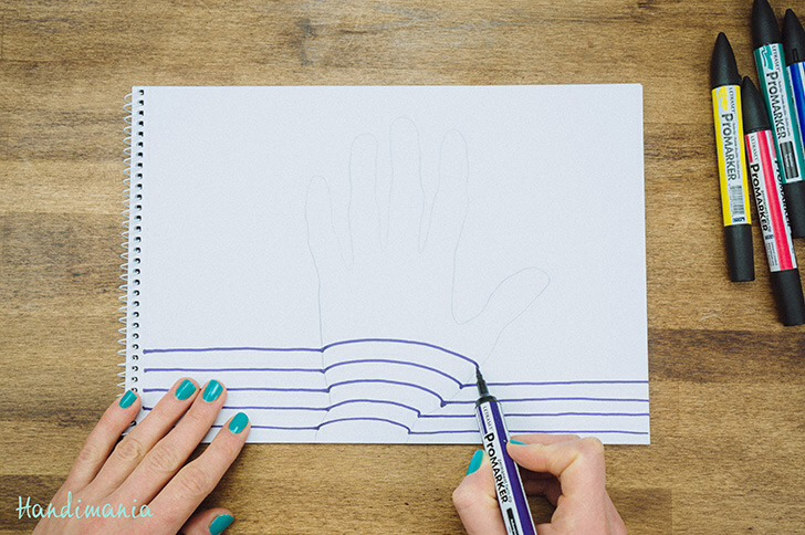 Draw a strait line till you meet the line of your hand drawing and make a hump continue line strait once on other side of hand. When you get to fingers make humps in fingers only line must be strait between them