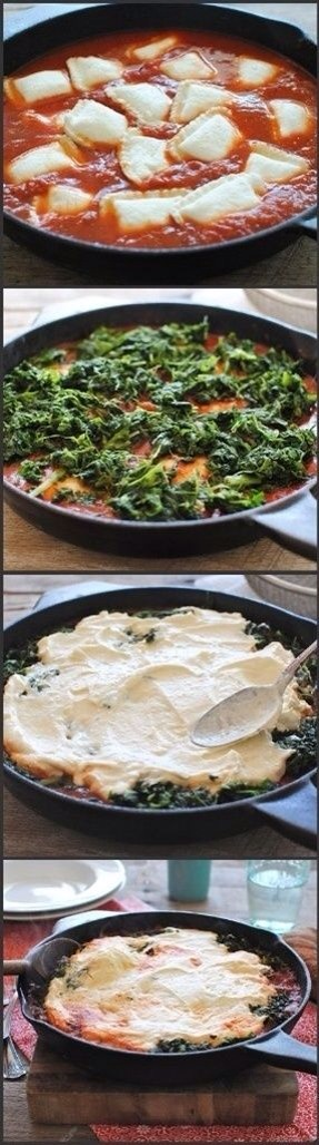 -> 2 cups pasta sauce -> 1/3 cup water -> 1 9 ounce cheese - or meat-filled ravioli -> 1 egg, lightly beaten -> 1 15 ounce ricotta cheese -> 1/4 cup grated Romano or Parmesan cheese -> 1 10 ounce package frozen chopped spinach -> Thawed and well drained Grated Romano or Parmesan cheese
