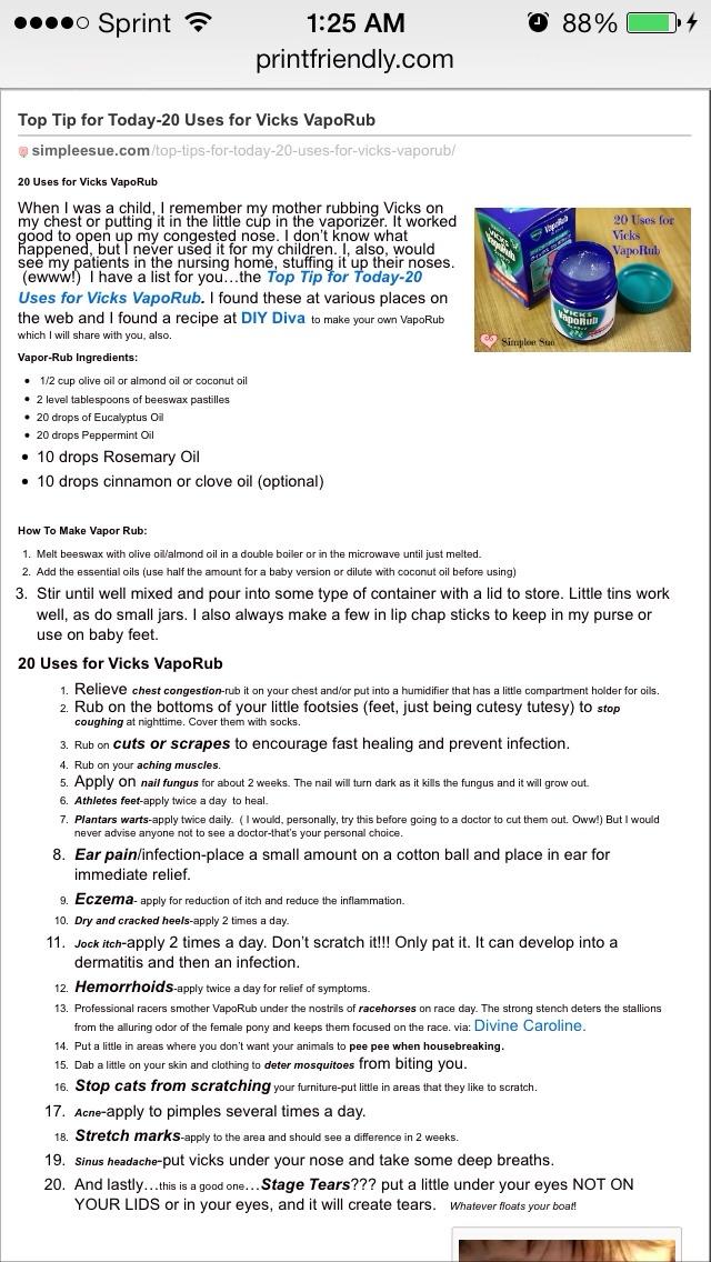 20 Uses For Vicks Vapor Rub