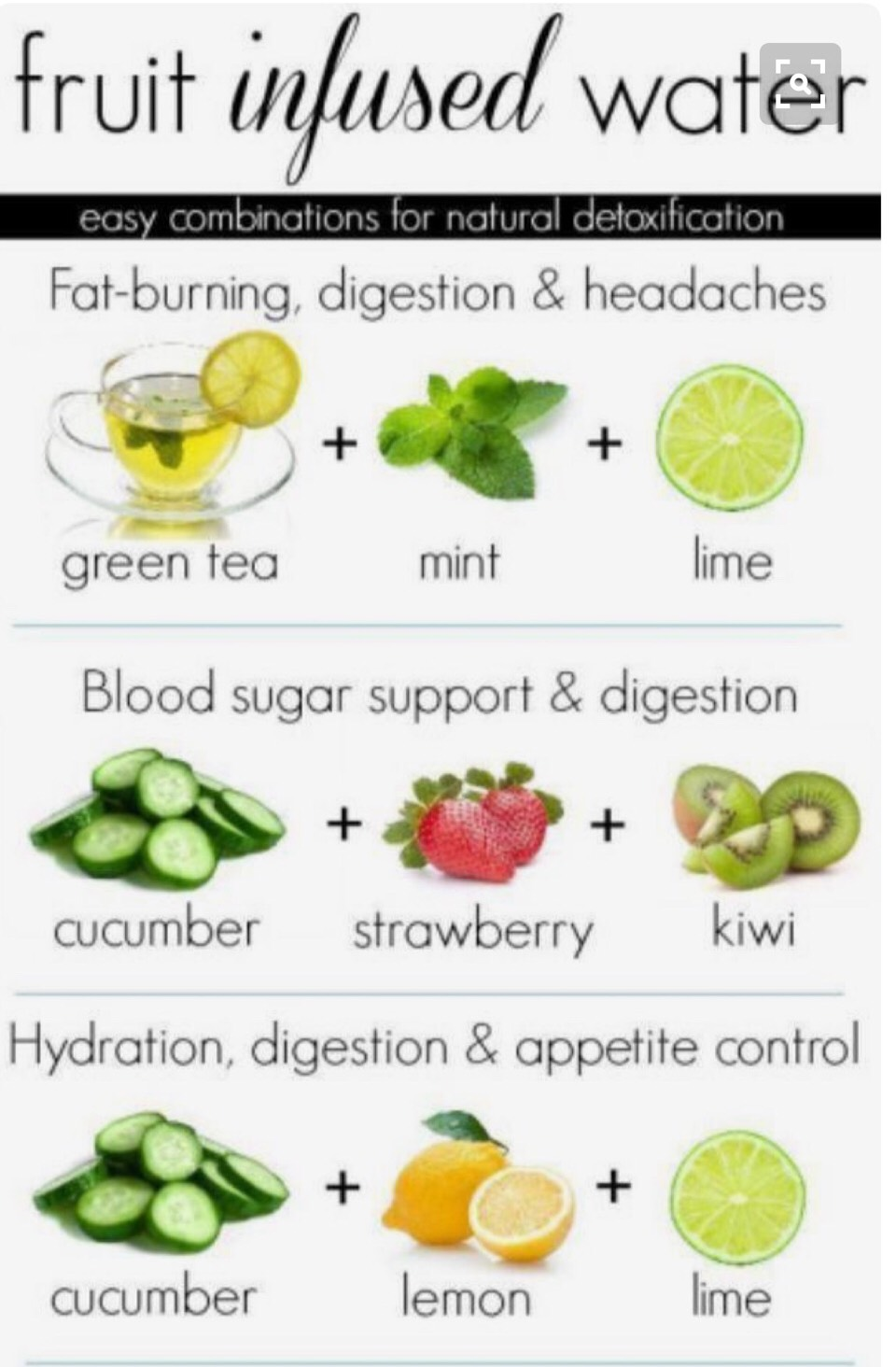 Fruit infused water is a great detox drink.  Green tea is full if vitamins. If you drink this in the morning green tea will speed up the metabolism. Aiding in weight loss  Cucumbers is full of fiber and water.  Lemons are great for metabolism and weight lose.