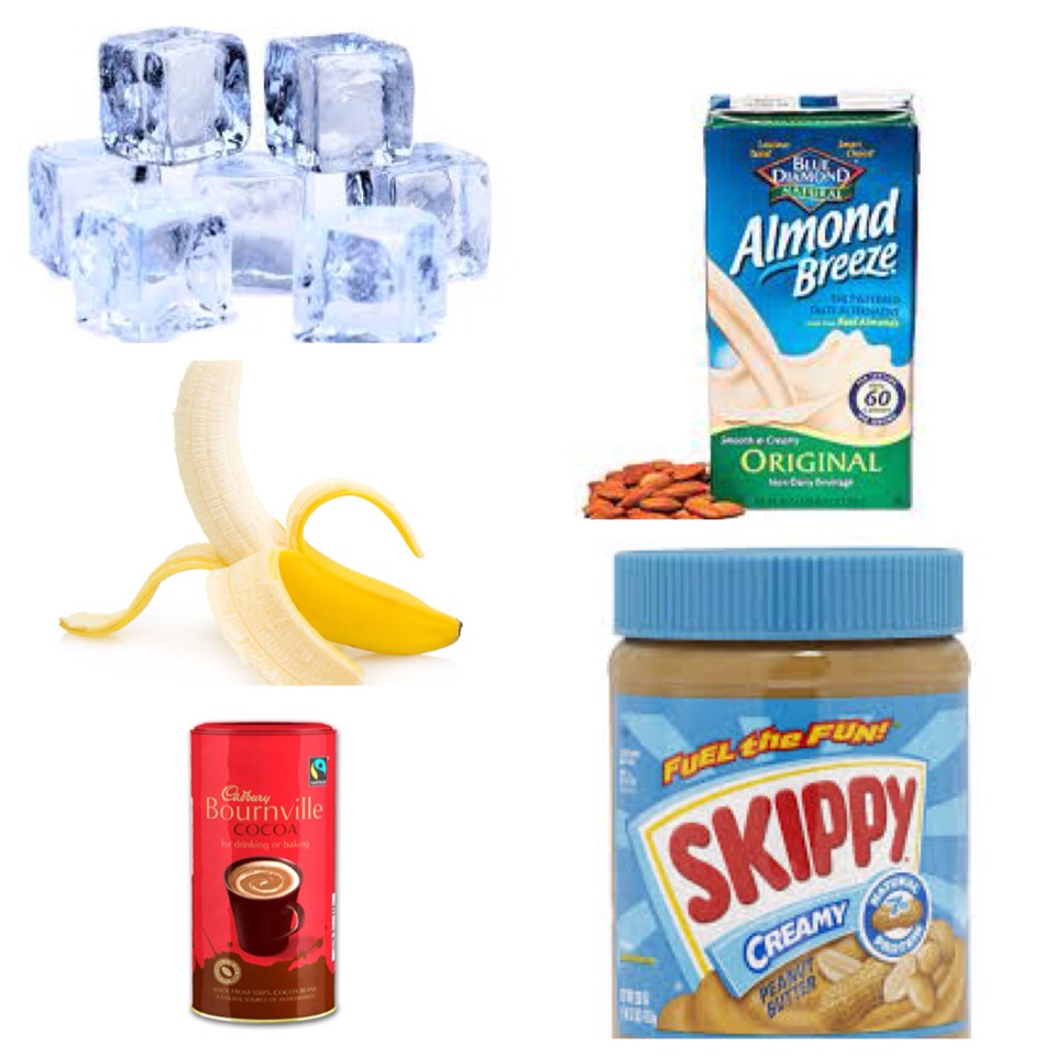 You will need;  1 banana 1 tsp of peanut butter 1 tsp of bournville cocoa powder 1 cup of almond milk A handful of ice