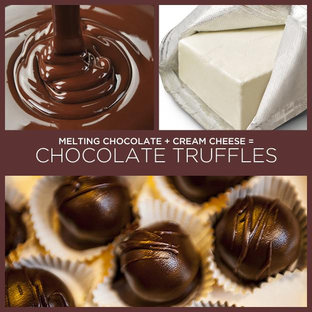 19. Melting Chocolate + Cream Cheese = Chocolate Truffles
