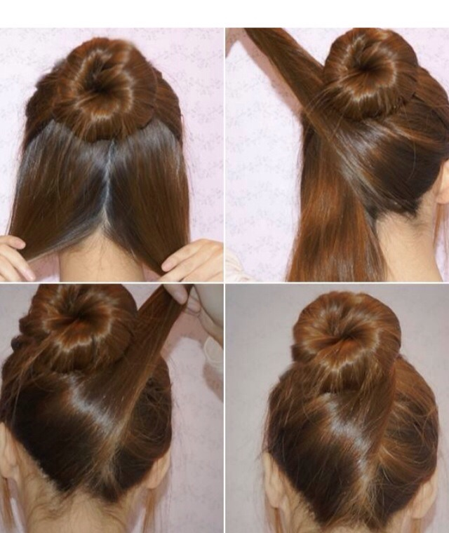 First make a sock bun from upper half of the hair. Then part the lower hair in half. Take one part to the opposite side, wind it around the bun and secure with bobby pins. Do the same with the second part so that it is crossing the first part.