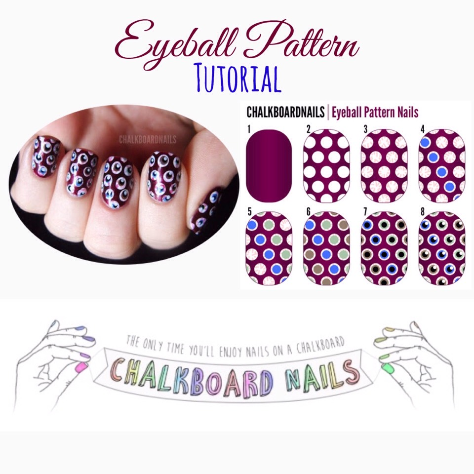 For the full tutorial, VISIT | http://www.chalkboardnails.com/2011/10/eyeball-pattern-nails-tutorial.html?m=1