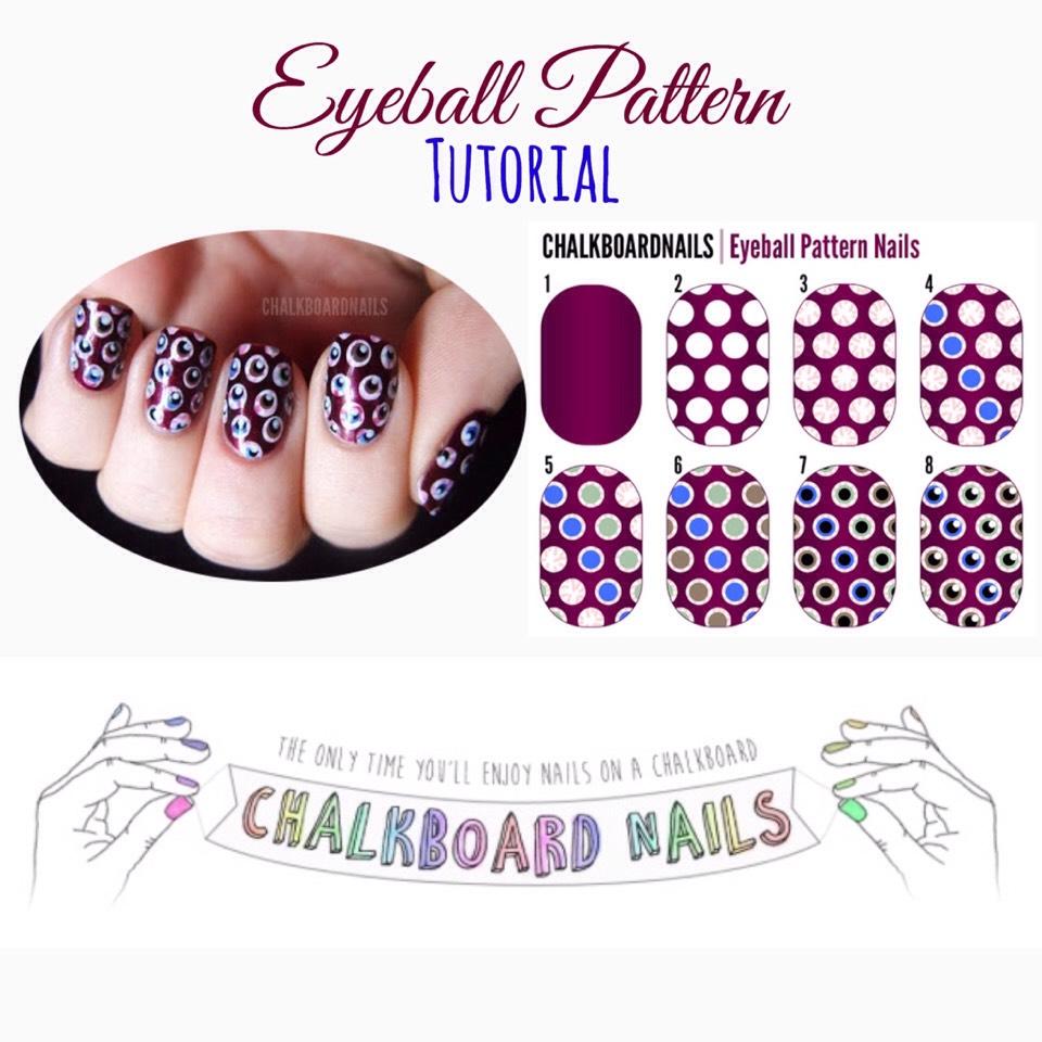 For the full tutorial, VISIT |http://www.chalkboardnails.com/2011/10/eyeball-pattern-nails-tutorial.html?m=1